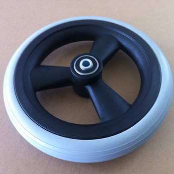 Heavy Duty Polyurethane Solid Flat Free Wheel & Tire With Ball Bearing