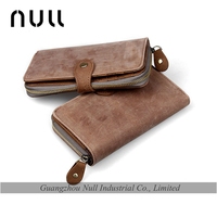 Natural Suede Material Real Leather Trifold Wallet for Men