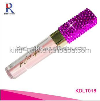 Bling bling high end rhinestone beaded unique packaging design mini balm clear lip gloss tube