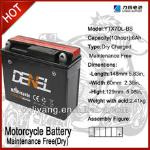 YTX7D-BS motorcycle / Motorchycle battery motorcycle batteries for Lifan Qjiang Zongshen Loncin