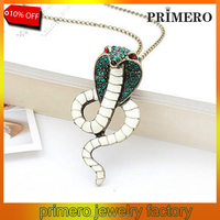PRIMERO Fashion 2015 New Fashion Hot Selling Retro Shining Vintage Crystal Snake Cobra Necklace Chain Sweater chain jewelry