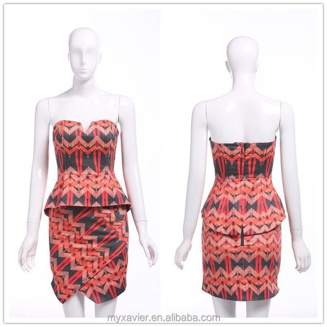 2015 summer Ladies floral print backless bra top peplum pencil mini dress irregular design