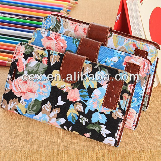 For Samsung Galaxy Note 3 New Arrival Elegant Flower Style Wallet Flip Magnet Stand Leather Case Cover with Credit Card Holder