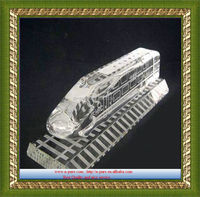 Wholesale exquisite clear crystal train,handmade crystal train model
