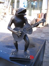 art bronze frog sculpture playing guitar