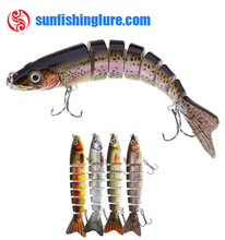 12.3cm Artificial Fishing Lure Bait 3D Eyes 8 Segments Fish Lures 2 Hooks Sea Fishing Swimbait Crankbait Tackle