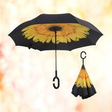 Fashionable new design customised 190t pongee double layers inverted inverse cool umbrella rib end cap