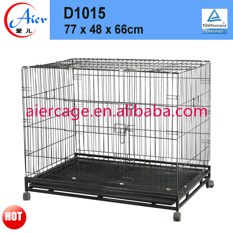 square tube folding dog crates with wheels