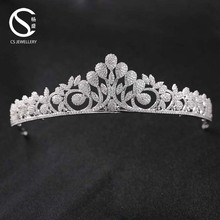 9-1297 Hot sale elegant wedding hair accessories bride brass tiara fashion flower crown headdress