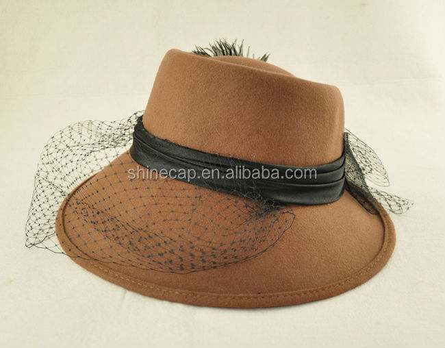 Wool felt hat fashion women fedora hat dress hat