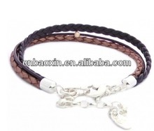 2014 New Spring Style Multi Wrap Leather Cords Metal Chains Snake Leather Bracelet With Closure