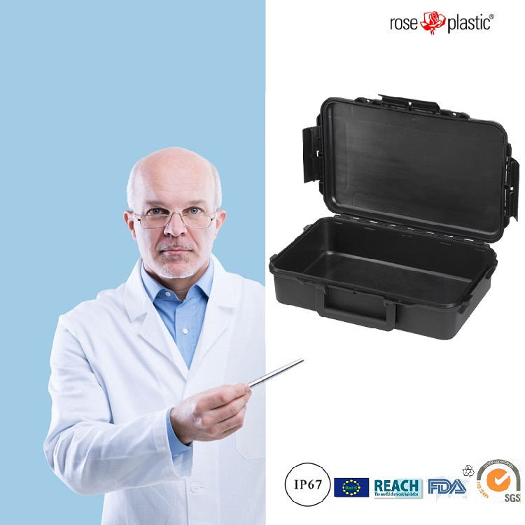 Hard plastic surgical dental instrument case with cubed convoluted foam IP67 waterproof RC-PS 195 L