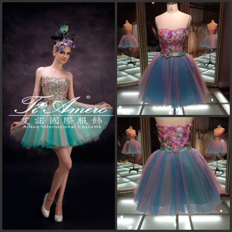 light blue short puffy party prom dresses