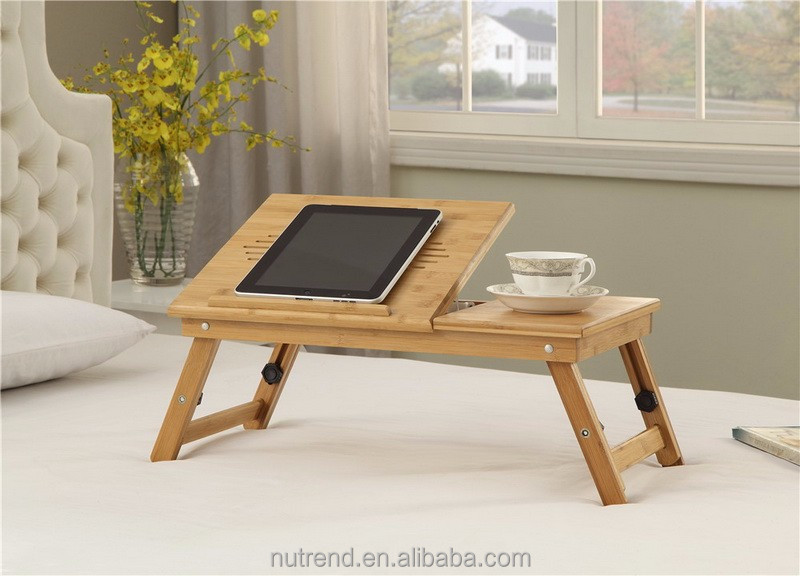 Bamboo Portable Laptop Desk Cooler with Height Adjustable folding leg