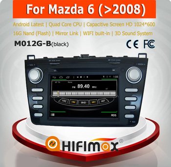 Hifimax Android 4.4.4 car dvd player for Mazda 6 with 4 Core CPU 16G Hard disk HD1024*600 capacitive screen android 4.4.4
