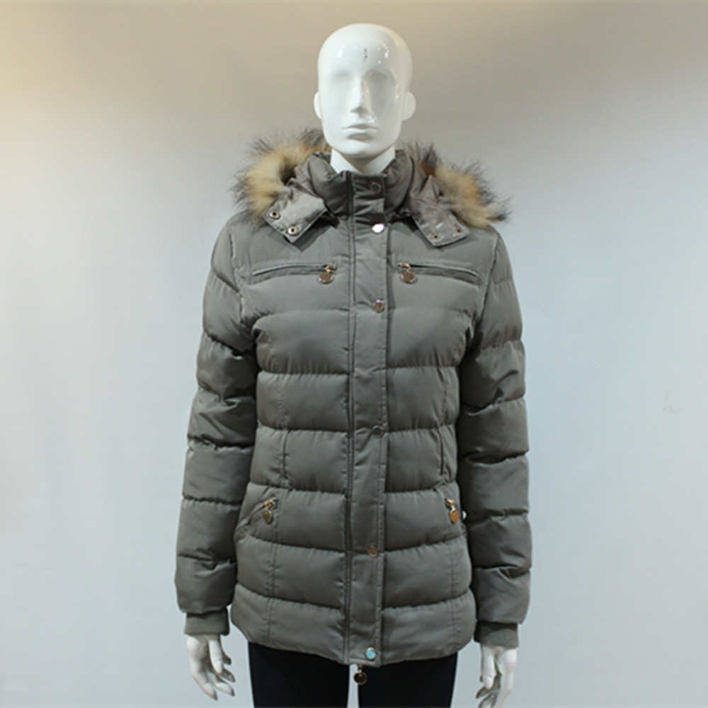 Wholesale Custom Winter Beige Jacket Women Real Fur Hood Coat Campera Jaqueta Nylon