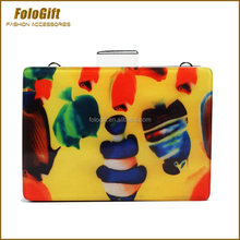 Full Color Printing Acrylic Box Clutch Evening Bag with metal chain Factory Customized
