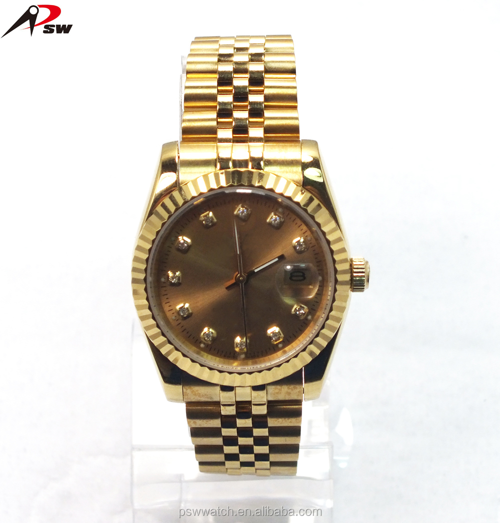 Luxury gold new design watch China manufacturer fashion diamond men quartz goldlis watch in alibaba