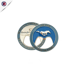 Customized new design round shape horse beer metal bottle opener keychain with custom logo metal plate