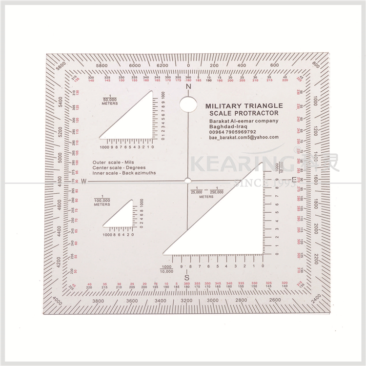 Kearing manufacture aviation square protractor, combination square set protractor,super quality military square ruler #KMP-4