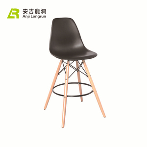 Modern Industrial wooden Bar stool with PU Back and 4 Leg Design round footrest chair