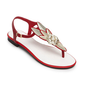 Anmairon whole sales new fashion flower leather ladies shoes low heels flats sandals