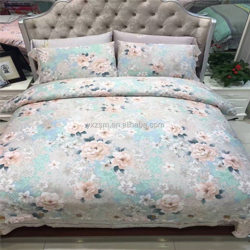 Machine Washable Digital Printed Bed Sheet Chinese Silk Wholesale Bedsheets Bedding Sets