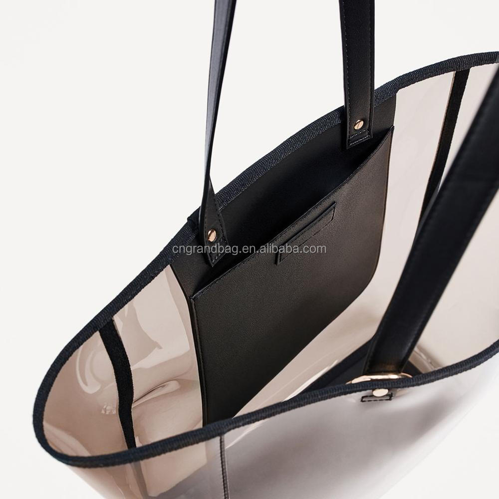 elegant fashion clear transparent daily PVC leather lady shopper tote handbag bag with clutch bag