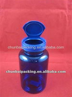 pet blue flip top pill bottle