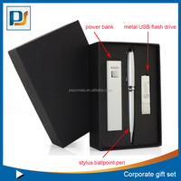 Corporate gift set with power bank, usb disk and stylus ballpoint pen