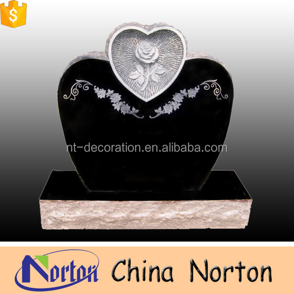 Black granite double heart headstone NTGT-375A