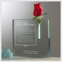 Engraved Jade Glass Crystal Vase For One Flower Decoration