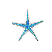 wholesale Rhodium Plated silver jewelry 925 sterling silver blue sea starfish opal pendant necklace