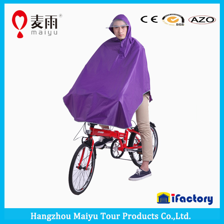Maiyu pure color high quality bicycle rain poncho with reflective tape