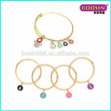 Accept Custom Design enamel evil eye beads wire bangle