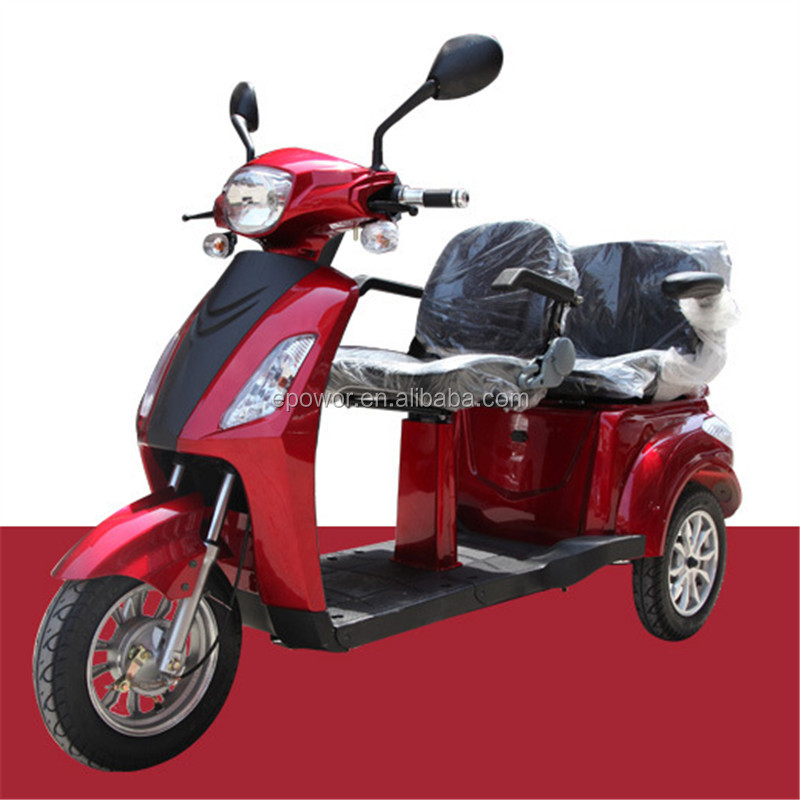 800W electric tricycle 3 wheel scooter with 60V20Ah lead-acid battery 25km/h for HC-ET02 double seat