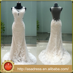 ASAM-11 Sexy Sheer Scoop Neck Pearls Lace Appliques See Through Back Sheath Sleeveless Wedding Dresses
