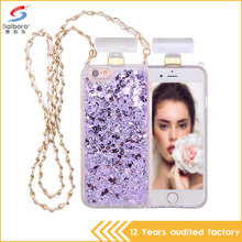3D glitter liquid sand design tpu pc perfume bottle phone case for iphone 5 5s