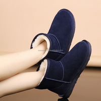 Navy blue plush lining soft rubber sole cheap leather boots