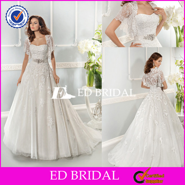 XL790 2014 new style lace ball gown german wedding dresses with bolero