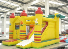 CE Approval Yellow Inflatable Slip n Slide Inflatable Castle Combo Inflatable Houses Bouncers For Hire