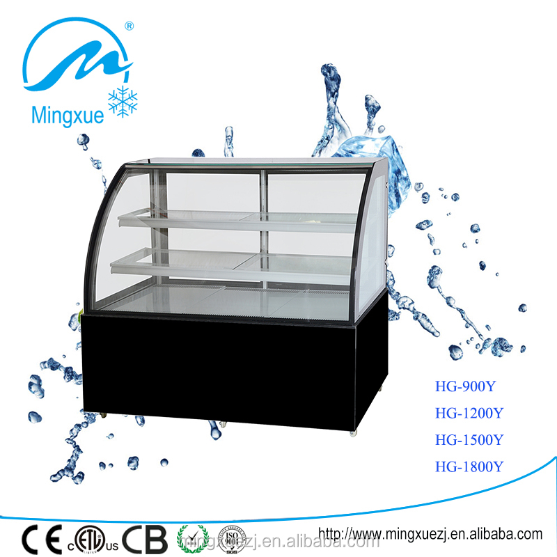 1.2m curved glass cake showcase 800l cake display showcase