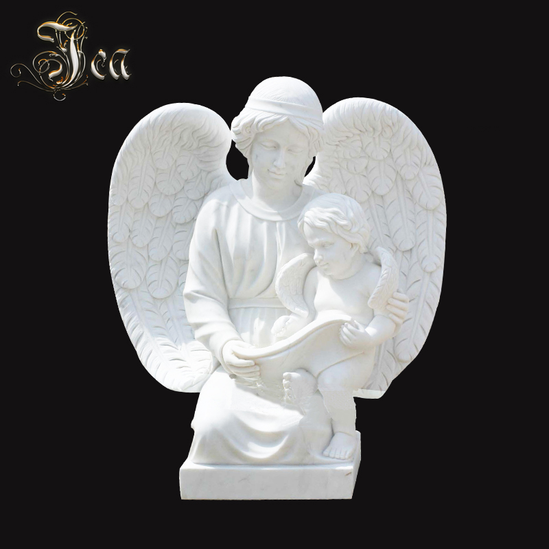 high quality unique white cross marble angel headstone