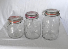 Clear Glass Storage Canister Jar with Embossed Fruit and Wire Bail Bale Lid
