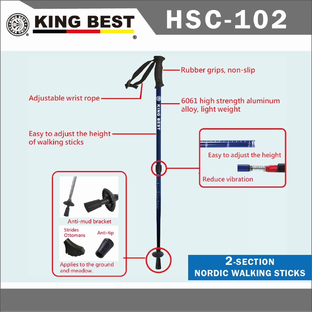 KING BEST 2016 Wholesale carbon trekking pole 2-SECTION hiking mountaineering stick
