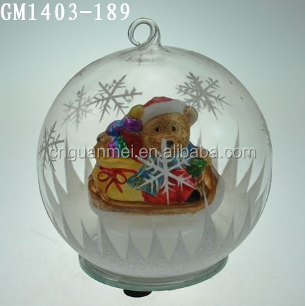 120mm wholesale clear glass christmas ball ornaments with snowflake