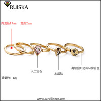 Caroline Jewelry New Design Friendship Personalized Gold Charm Crystal Rings Accessory