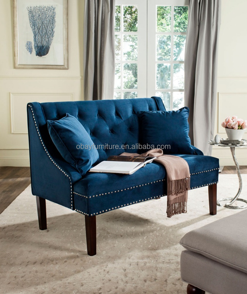 french recliner two seater wooden sofa, blue velvet upholstery chaise lounge two seat sofa