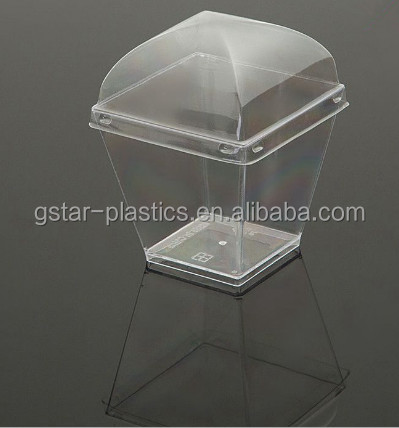 Hot selling disposable PS pudding cups/Accept customized Square Dessert Cup/ Mousse cup with lids