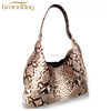 High quality handbags genuine python with ostrich hobo bag women shoulder bag hand bag for lady